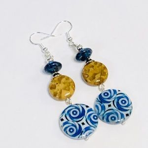 Jasper & Lapis Lazuli & Mother-of-Pearl Earrings